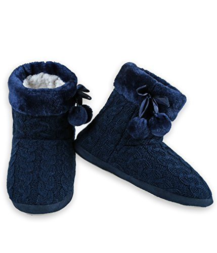 ICONOFLASH Women's Cable Knit Bootie Slipper with Faux Fur Trim (Navy, Medium/Large, 8-10 US)