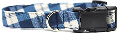 Buffalo Plaid, Blue Gingham Designer Dog Collar, Adjustable Handmade Fabric Collars (M - 1