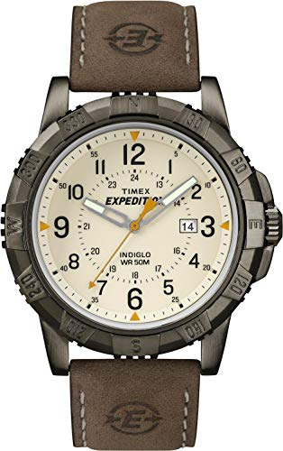 Timex Expedition Men's Quartz Watch with Dial Analogue Digital Display and Rugged Metal Leather Strap