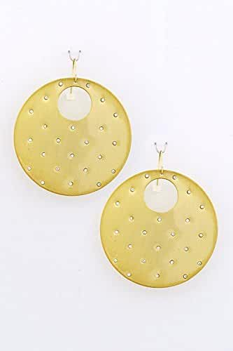 TRENDY FASHION JEWELRY CRYSTAL STUDDED DISK EARRINGS BY FASHION DESTINATION