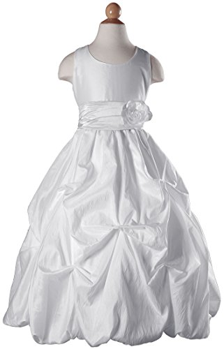 Girls White Taffeta Flower Girl Dress With Tufted Skirt And White Colored Sash - Women Taffeta Brides Maid Dress