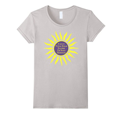 Womens DeSoto MO Total Solar Eclipse T-Shirt, Aug. 21 2017 Sun Tee XL Silver
