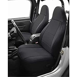 Coverking Custom Fit Seat Cover for Jeep Wrangler TJ 2-Door - (Neoprene, Solid Black)