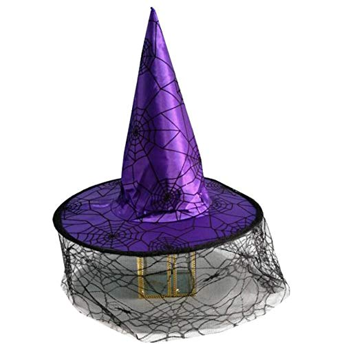 (Party Hats - 5 Color Halloween Lace Costume Party Hat With Spider Net Mask Witch Hats Tower Magic Props - Toddler Pink Crown Glitter Headband Elastic Cats Polka Party Print Craft Surprise W)
