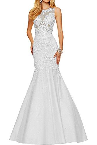 Festlichkleider mia Durchsichtig Damen Kleider Ballkleider Jugendweihe Formal Abendkleider Spitze Weiß Lang Sexy La Braut zIBxZqI
