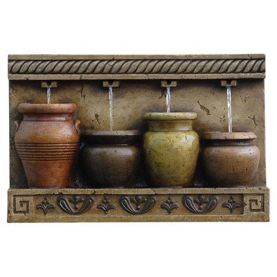 Polyresin & Fiberglass Tiered Colorful Pots Wall Fountain