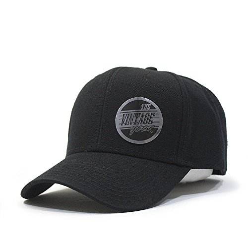 Premium Plain Wool Blend Adjustable Snapback Hats Baseball Caps (Various Colors) (Black)