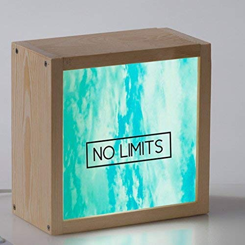 Caja de luz Lightbox decorativa con mensaje, cubito de luz de 18x18x9,5cm.