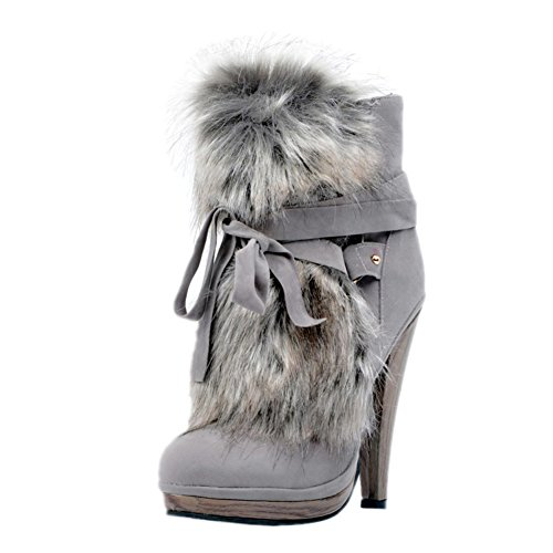 Prom Grau High Winterstiefel Heel 13cm Schuhe Kolnoo Fashion Womens Handmade Party Kreuzband 4qwxFHp