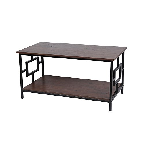 GIA Rectangular Coffee Table Lower Storage Shelf - Antique Wooden Color - Black Frame - Easy Assemble - Heat Resistance Wooden Top Bottom -