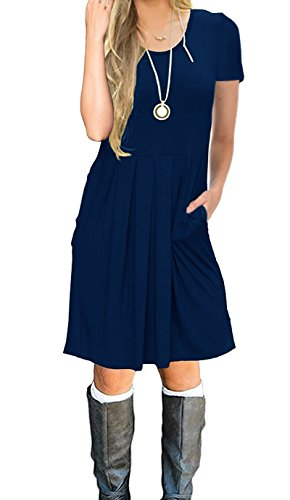 LILBETTER Women's Short Sleeve Pleated Loose Swing Casual Dress with Pockets Knee Length (XL, C-Navy Blue)