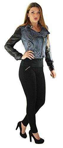 # 1205–Chaqueta Jeans–Piel sintética S M L XL Negro Azul Azul