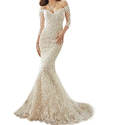 Engerla® Women's Long Sleeves Sweetheart Off-Shoulder Mermaid Lace Wedding Dress