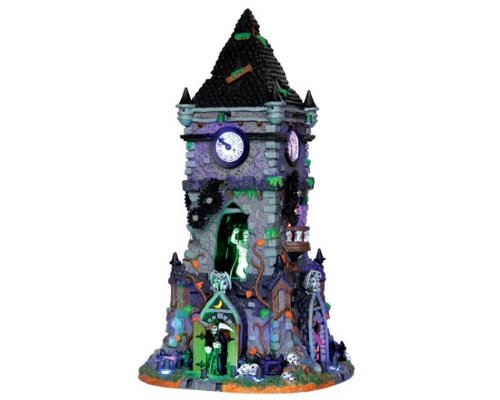 Lemax Spooky Town Haunted Clock Tower with Adaptor