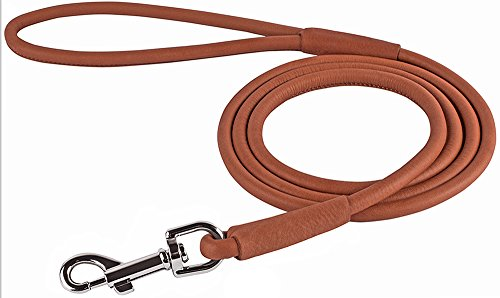 Product image of CollarDirect Rolled Leather Dog Leash 4ft, Soft Padded Training Leather Dog Lead 6ft, Puppy Leash Rolled Leather Small Medium Large Black Blue Red Orange Green Pink White (Brown, Size XS 6ft)