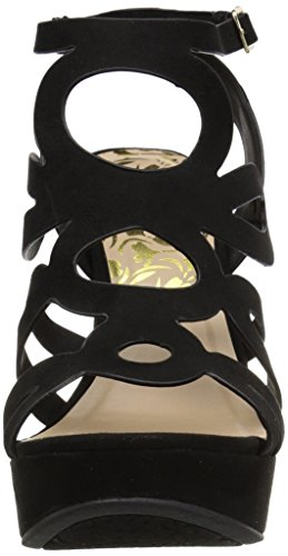 Black Polyurethane Women's Qupid Suede Sandal Wedge UqBnWUw1S