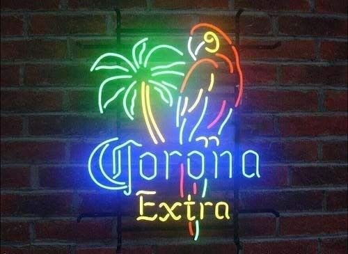 Corona Extra Parrot Lady Luck Metal Frame Neon Sign 17''X13'' Real Glass Neon Sign Light for Beer Bar Pub Garage - Luck Sign