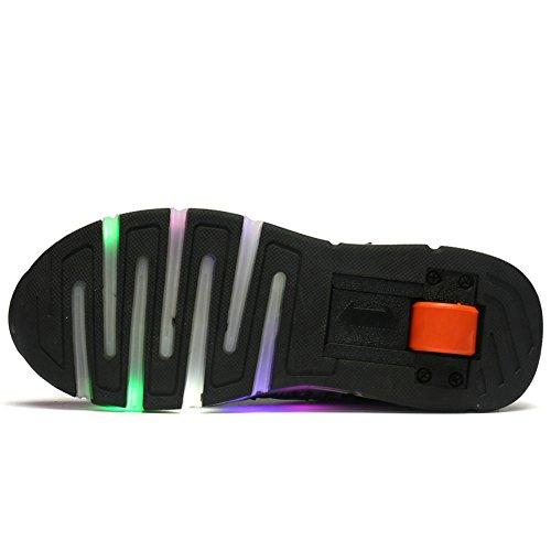 Kids Light for Women Wheel Sneakers wheels Shoes Boys Black with Roller Zcoins LED Skate Single Girls qPWtC