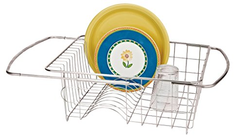 Better Houseware Adjustable Over Sink Dish Drainer in Stainless Steel -