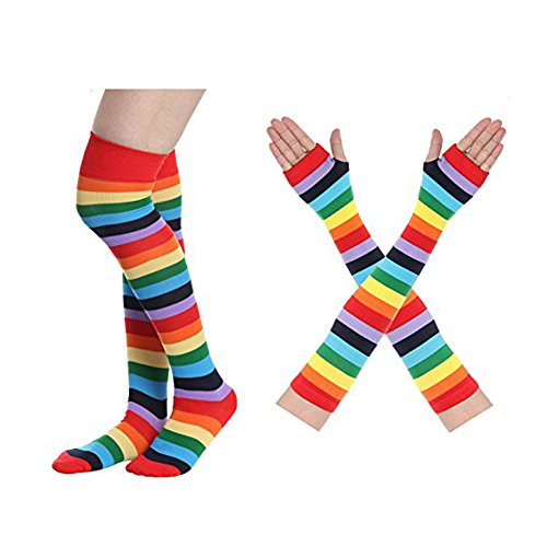 Zoopwon Rainbow Knee High Socks and Gloves - Stockings and Arm Warmers for Girls Women Party Costume (Socks & Gloves) (Socks Striped Rainbow Knee)