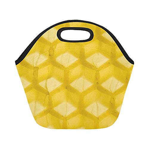 Insulated Neoprene Lunch Bag Beeswax Honey Honeybee Honeycomb Industrious Wax Large Size Reusable Thermal Thick Lunch Tote Bags For Lunch Boxes For Outdoors,work, Office, School