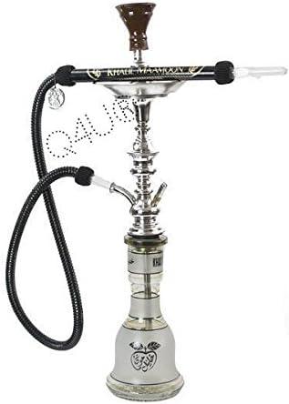 KM Khalil Mamoon Shisha Hookah Genuine Egyptian sheesha pipe Cafe Style With 175CM Hose Washable (Black) …