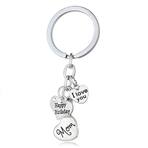 Mom I Love You Happy Birthday Family Member Engraved Heart Shaped Keychain (Love Mom Ring)