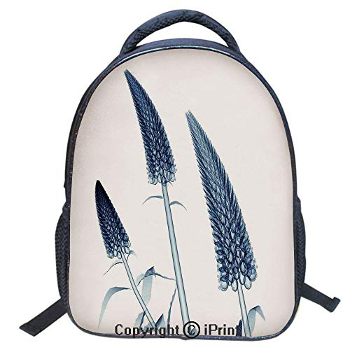 Double Strap Multipurpose Backpack,Polyester Fiber,Large Capacity,3D Backpack for Laptop,16 inch,Gooseneck Loosestrife Flower X Rays Image Exotic Plants Blooms Artful Home
