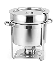 Round Soup Pot Food Warmer, Stainless Steel Chafing Dish Buffet Set with Water Pan, Chafer, Frame, Fuel Holder and Lid for Any Event Or Party(3 Capacities)