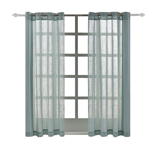 Best Dreamcity Faux Linen Sheer Curtains for Bedroom, Window Treatment Drapes, Grommet Top, Set of 2 Panels, W52