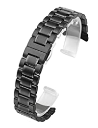 Top Plaza Black 22mm Solid Stainless Steel Curved End Link Bracelet Wrist Watch Band Strap Replacement Double Push Spring Butterfly Deployment Clasp 3 Rows Metal Strap