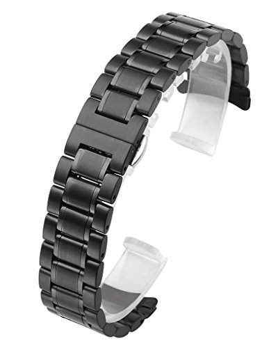 Top Plaza 22mm Black Solid Stainless Steel Curved End Link Bracelet Wrist Watch Band Strap Replacement Double Push Spring Butterfly Deployment Clasp Strap Fits Round Watch Case
