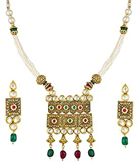 b09ca0f479c The Luxor Antique Gold Plated Long Haram Mala Necklace Rani Haar Jewellery  Set for Women and
