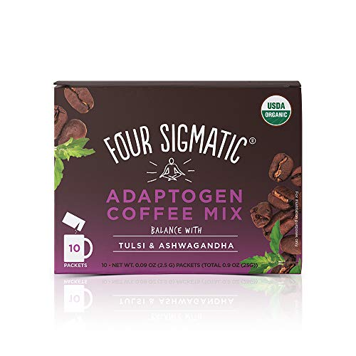 Four Sigmatic Adaptogen Coffee - USDA Organic Coffee with Tulsi & Astragalus - Organic, Vegan, Paleo - Hack Stress - 10 Count