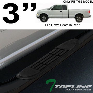 """Topline Autopart 3"""" Black Side Step Nerf Bars Rail Running Boards For 82-03 Chevy S10 / 82-90 GMC S15 / 91-03 Sonoma Extended Cab"""