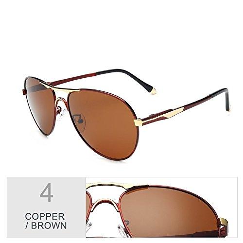 Negro TIANLIANG04 Sol De Uv400 Brown El Copper Polarizadas Marrón De Sol Redondo Para Hombres Cobre De Marca Gafas De Aviador Gafas Diseñador rOfqrF0zwT