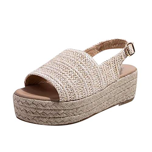 Roman Slippers Beach Sandals Womens Straw Shoes Open Toe Thick Bottom Sandals Beige