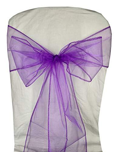 (Ankirol 50pcs Organza Chair Sashes Chair Covers Wedding Party Favors Banquet Decor Sheer Organza Fabric Sash 7 inch x 108 inch / 18cm x 275cm (deep Purple))