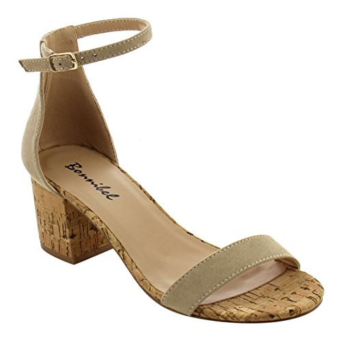 Sky SHOP Womens Fashion Casual Outdoor Denim Buckle Ankle Strapped Block Thick High Heel Dress Sandals (7 B(M) US, Natural)