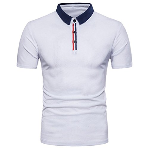 Anxinke Men Solid Short Sleeve Button-Down Casual Slim Fit Shirts (M, White B) by Anxinke