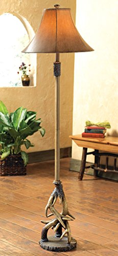 Leather Shade Floor Lamp (Antler Floor Lamp with Faux Leather Shade - Cabin Lighting)