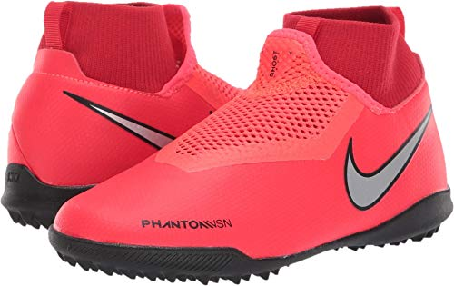 Nike Kids Unisex JR Phantom Vision Academy DF TF Soccer (Little Kid/Big Kid) Bright Crimson/Metallic Silver 5.5 M US Big Kid