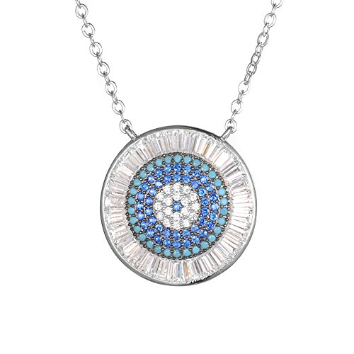 KIVN Fashion Jewelry Spiritual Evil eye Pave CZ Cubic Zirconia Pendant Necklaces for Women (Turquoise)