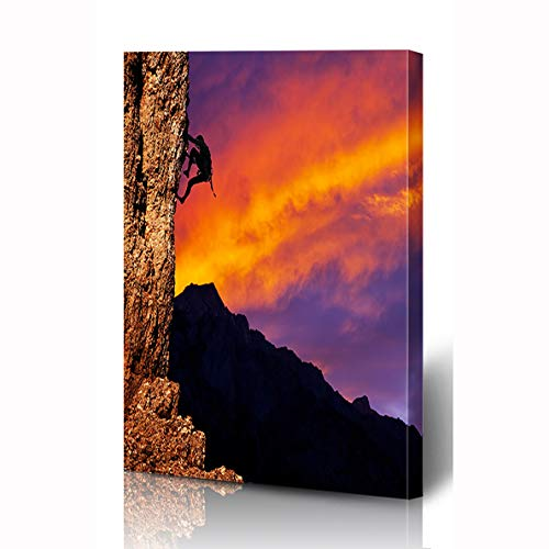 Ahawoso Canvas Prints Wall Art 12x16 Inches Danger Rock Climber On Sunset Parks Mountain Dawn Sports Recreation High Extreme Hike Acrobat Design Wooden Frame Printing Home Living Room Office Bedroom