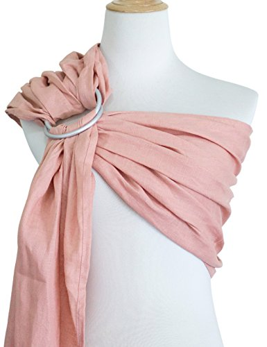 by Carrier Wrap   Luxury Linen and Cotton Baby Slings for Newborn, Infant, Toddlers, and Kids   Adjustable Metal Aluminum Rings, Lightweight Breathable, Great Shower Gift, Pink ()
