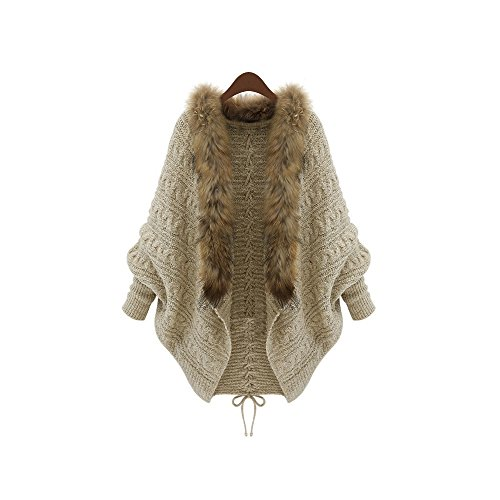 New Autumn Cardigan MYDAFA Women Large Size Knit Cloak Faux Fur Collar,Loose Bat Sweater Jacket Coat (Beige) (Fur Blazer Collar Faux)