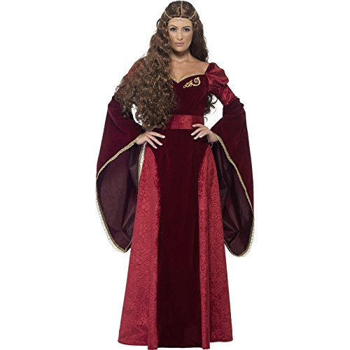 [Smiffy's Women's Medieval Queen Deluxe Costume, Dress, Belt and Headpiece, Tales of Old England, Serious Fun, Size 6-8,] (Toddler Renaissance Costumes)
