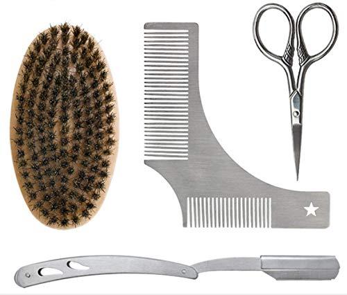 PhilaeEC Men Beard Brush & Comb & Scissor& Razor Stainless Steel Mustache Grooming Barber Beard Shaping Set