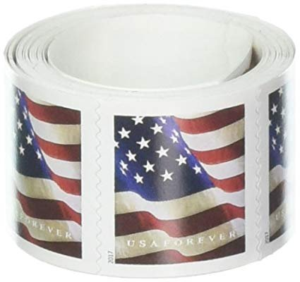 USPS Forever Flag Stamps Roll of 100 - 2017 or 2018 version (United Postal Stamps)