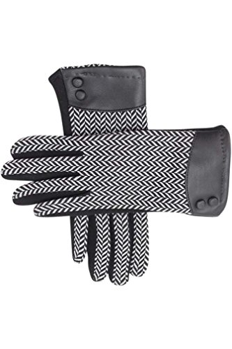 ランクタバコ現れるヘリンボーンTexting Gloves With Buttoned Cuff